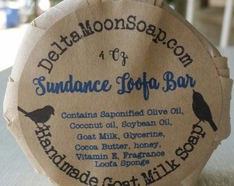 Handmade Loofa Goat Milk Soap, Loofah Soap, olive oil soap, exfoliating soap, cocoa butter soap, Mild Soap, scrubby soap, cold process soap