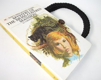 Nancy Drew Book Purse Mystery of Moss Covered Mansion Vintage Handbag Upcycled Book Bag