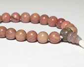 Rhodonite Wrist Mala 8mm 21 Beads, Tibetan Buddhist Juzu Beads, Heart Chakra, 4th Chakra, Prayer Beads, Yoga Bracelet, Pink, Mala Bracelet