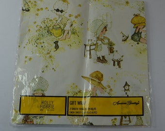 vintage Holly Hobbie Wrapping Paper 1970s In Original Package American Greetings