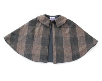 Gray & Tan Plaid Wool Warm Cape with Gray Flannel Lining - Size Newborn to 9/10 - Warm Winter Jacket, Winter Coat, Capelet, Poncho