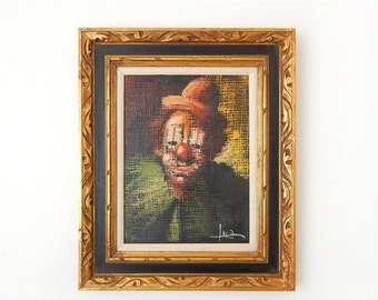 SALE Vintage 50s Luca Clown Painting Framed Oil on Canvas - Dark Moody Expressionist Original Mid Century Clown Art - 16 x 20