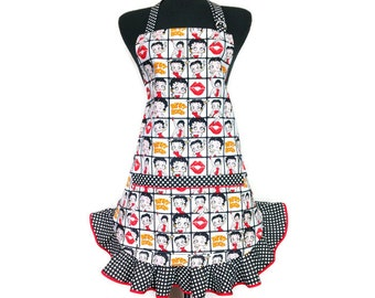 Betty Boop Apron for women , Retro Ruffled Apron , Cartoon Diva , Pin Up Girl Kitchen Decor , Sexy Girls apron
