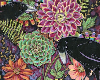 Ravens in The Garden 6x6 inch Archival Print on Wood