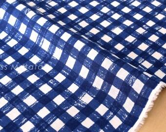 Japanese Fabric - Linen Sketched Gingham - indigo blue, white - 50cm