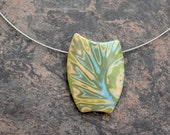 Mokume Gane Polymer clay pendant necklace Choker Green Abstract botanical jewelry asymmetrical. Neck wire Contemporary Modern Solitaire