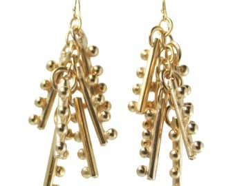 Multiple Keys Gold Dangle Earrings