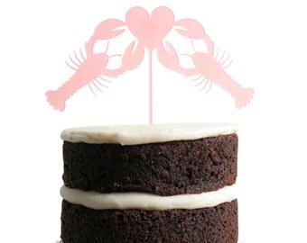 Lobster Love Dessert Topper - Blush Pink