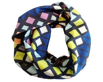 Organic Cotton Infinity Scarf with Geometric Pattern SALE 40% off!