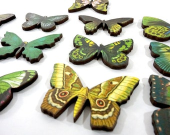 Spring Green Butterflies - Collection of 12 Wood Butterfly Craft Parts