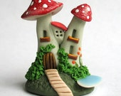 Miniature  Fairy Whimsy Toadstool Cottage House OOAK by C. Rohal