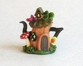 Handmade Miniature Fairy Tree Stump House Teapot by C. Rohal