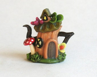 Handmade Miniature Fairy Tree Stump House Teapot by C. Rohal