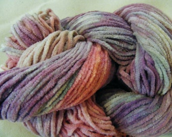 Chenille Cotton Yarn LILAC ROSE Handpainted 150yds 2.6oz Worsted Weight knitting aspenmoonarts