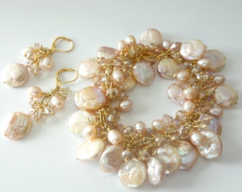 Pearl Bracelet and Earrings, Blush Pink Freshwater Coin Pearls, Crystals, Gold Two Piece Set, Mother of the Bride, Beach Wedding, Shell Pink