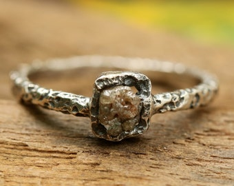Square rough diamond ring in bezel setting with sterling silver oxidized hard texture band