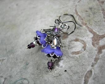 Fairy Flower Earrings,  Purple & Silver, Lightweight Earrings, Gift Under 30, Colorful Boho Chic, Festival Earrings, Elksong Jewelry