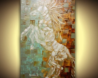 """white horse painting, abstract original wild stag, rock star, expressionist, animals art, 24x36"""" by susanna"""