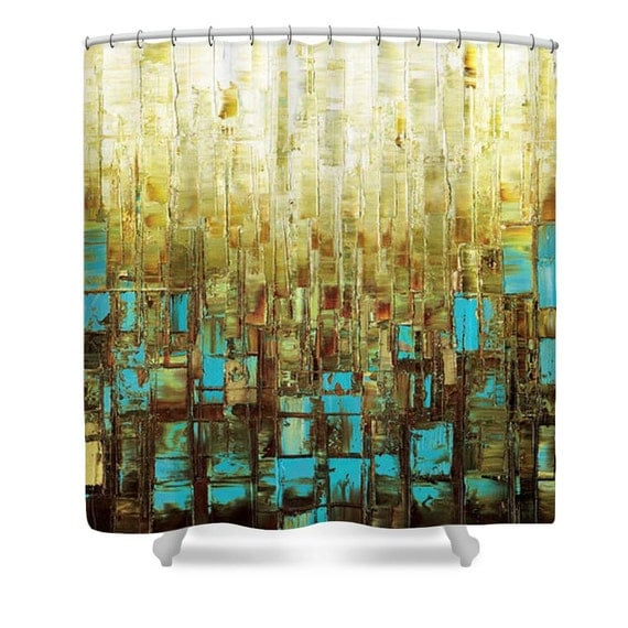 shower curtain blue brown modern art bathroom by