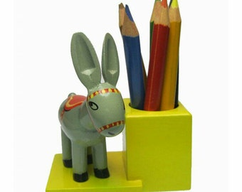 Vintage Wood Pencil Holder with Donkey + Colored Pencils