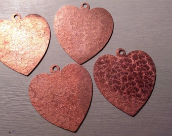 Oversized Coppery Textured Heart Vintage Pendant Base Finding LOT C