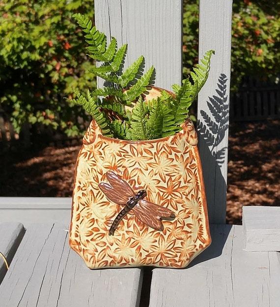 Ceramic Wall Art - Wall Pocket - Stoneware - Dragonfly - Butterflies - Leaves - Green - Pottery - Outdoor Art - Porch - Wall Art - Planter