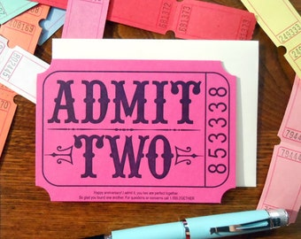 letterpress admit two ticket anniversary greeting card magenta with navy raffle carnival ticket