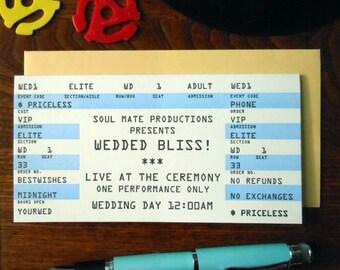 letterpress wedding rock concert ticket greeting card wedded bliss blue black white