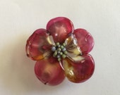 Raspberry pink dogwood Lampwork beads from Kyoto Studio