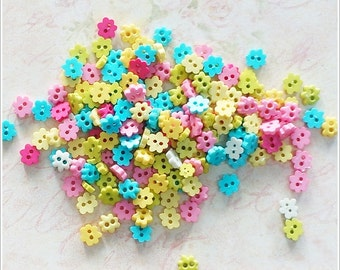 100 pcs 6 mm Tiny Flower Flat Buttons Mixed Color For Doll / Scrapbooking Supply