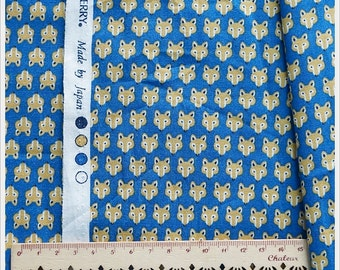FQ of Fox Foxy Japanese Cotton Fabric SevenBerry Blue