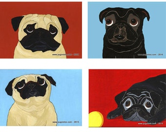 Pug Note Cards - Things Are Looking Up ~ Black & Fawn Pugs