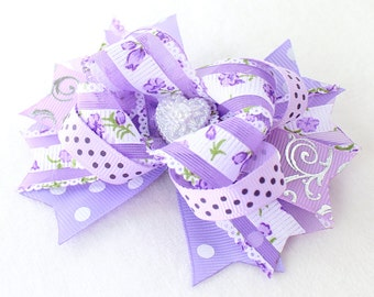 Purple Flower Hair Bow  with Alligator clip