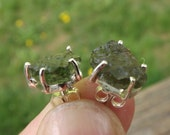 Spiritual Healing Transformation earrings: Genuine Moldavite stud earrings -one of a kind - Reiki healing, meditation aid