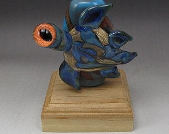 Handmade Lampwork Glass Turtle Focal Bead by Jason Powers SRA