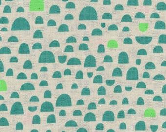 HALF YARD Ellen Baker - Roughcut - Pebbles Aqua and Green Neon - Cotton Linen Canvas  - Kokka  Japanese