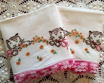 Vintage Embroidery Pillow Cases Kitten -Kitty - Cat Pair - Pink Green Orange Brown - New Unused - Crisp Cotton Muslin