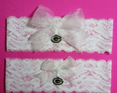 SALE 10% OFF White Lace Handmade Wedding Garter Set with Green Bay Packers charm