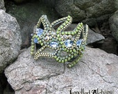 Swarovski Crystal Chain Cuff Bracelet in Blues and Greens freeform design