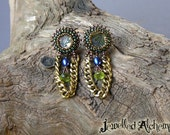 Earrings Paua Shell and Peridot