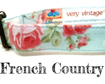 "Vintage Dog Collar - Floral Dog Collar - Girl Dog Collar - Shabby Chic Dog Collar - Antique Brass Hardware - ""French Country"""
