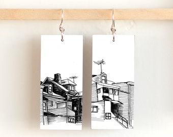 """Bloomfield Skyline, Paper & Wood Earrings, 1x2.25"""""""