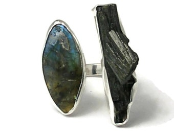 Large Adjustable Statement Ring ,Labradorite and Rough Epidote , One of a Kind,Asymmetrical Mulit-stone Ring, Size 8, Size 9,Size 10