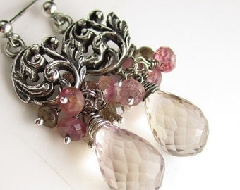 VDAY SALE Ametrine, Pink Tourmaline, Andalusite and Sterling Silver Gem Earrings