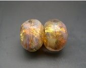 SALE Naos Glass - Fairy Opals Pair - Peach Pink Purple Fire Opal Fine Silver - Made To Order Handmade Lampwork Beads SRA