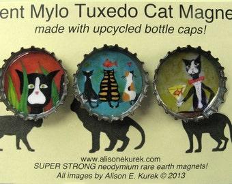 Cat Magnets - Silent Mylo Tuxedo Cat  - Bottle Cat Magnets - Cat Gift - Packaged Gift Set - Gift for Cat Lover
