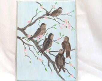 Shabby Farmhouse Cottage Spring Bird Painting Original