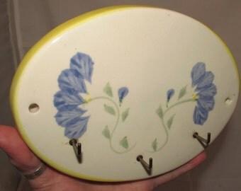 Vintage Pottery Kitchen Tea Towel or Apron Hooks by Crock Shop or Santa Ana, California, Wall Kitchen Decor, 70s, key holder, blue flowers