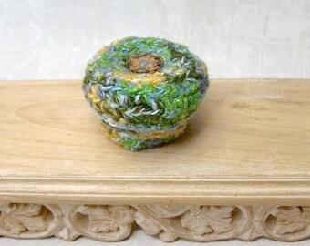 Decorative Silk Tapestry Basket with Embellished Lid - Unique Spring Green Color Basket Gift for Her - Flower Inspired Gift for Mom STB027