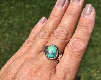 JUMA Jewelry - Mens Ring in Fox Mine Turquoise   - From My Bench NEW